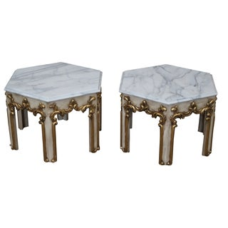Hollywood Regency Partial Gilt Side Tables - Pair