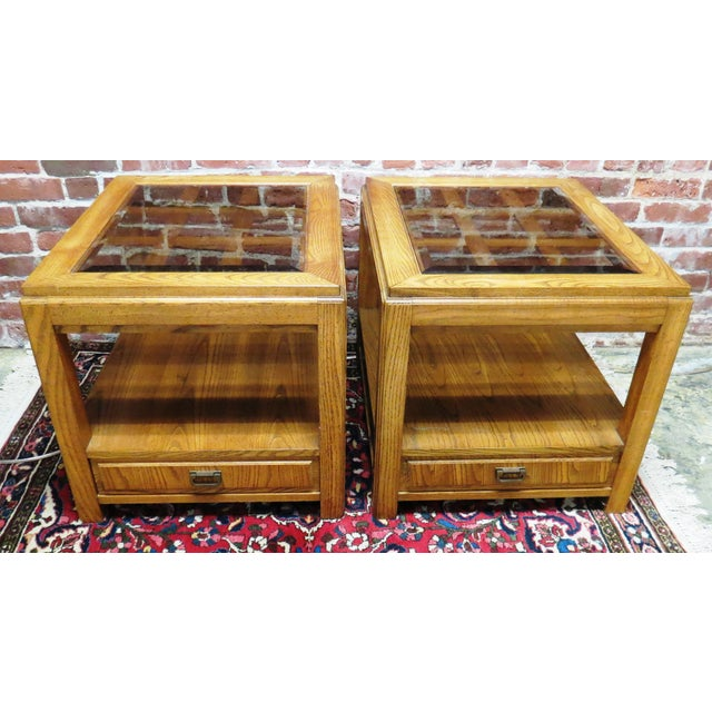 Vintage Wooden Glass Top Side Tables - Pair - Image 2 of 5