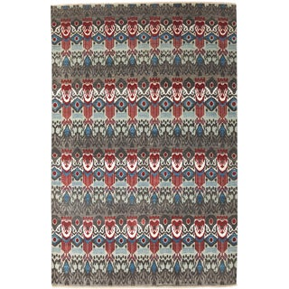 """Ikat Hand Knotted Area Rug - 6'1"""" X 9'5"""""""
