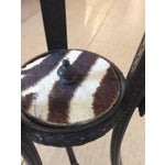 Image of Antique French Bronze & Zebra Hide Gueridon Table