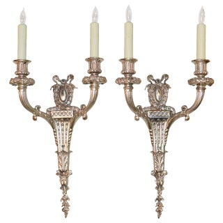 Pair of French Classical Silvered Bronze Sconces