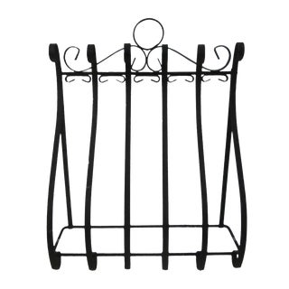 Black Metal Wall Mount Pot Rack
