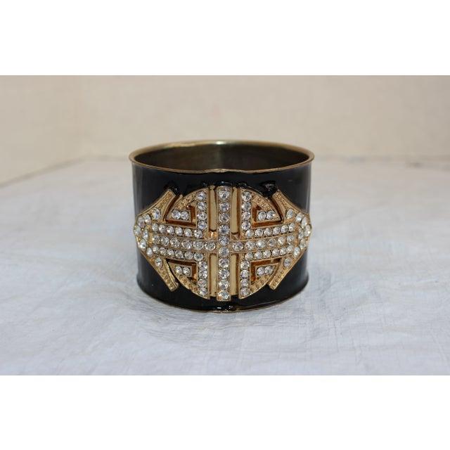 Image of Art Deco Enamel Rhinestone Cuff