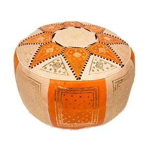 Fes Orange Leather Pouf