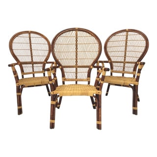 Bamboo Rattan and Wicker Fan Back Dining Chairs - Set of 3