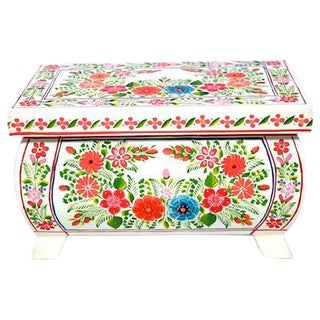 Hand-painted Olinala White Wooden Box with Flowers