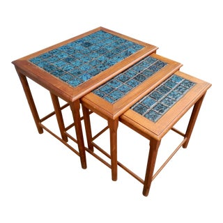 Teak Nesting Tables w/Handmade Tile - Set of 3