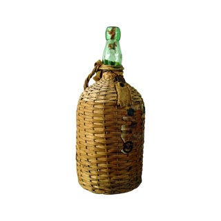 Vintage Bacardi Rum Wicker Covered Bottle