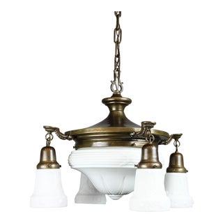 Antique Colonial Revival Pan Light Fixture (4+1 Light)