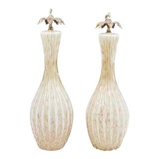 One Pair of Italian Art Glass Pendant Lamps