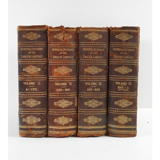 Image of Distressed Leather Dictionaries 1897 - S/4