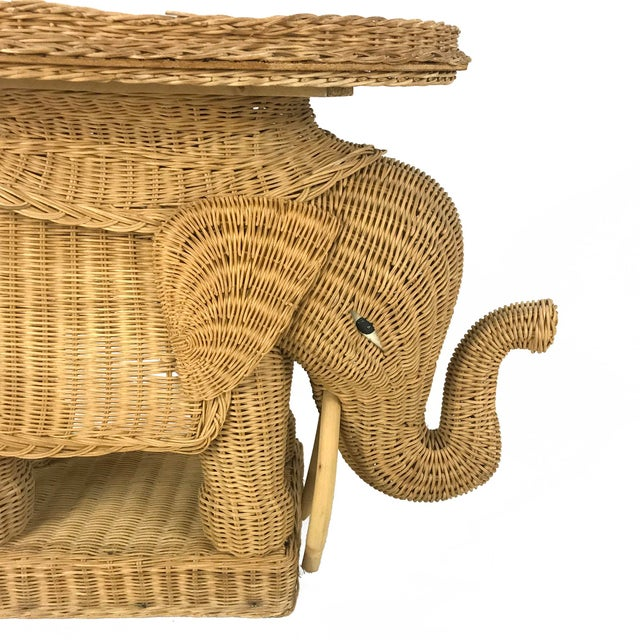Vintage Woven Wicker Rattan Elephant Side Table - Image 3 of 7