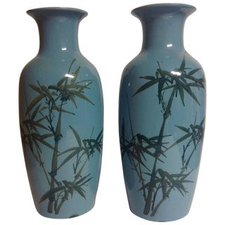 Vintage Japanese Turquoise & Green Vases - A Pair