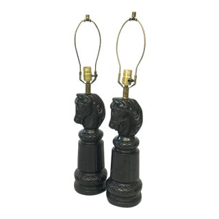 Ceramic Chess Piece Lamps - A Pair