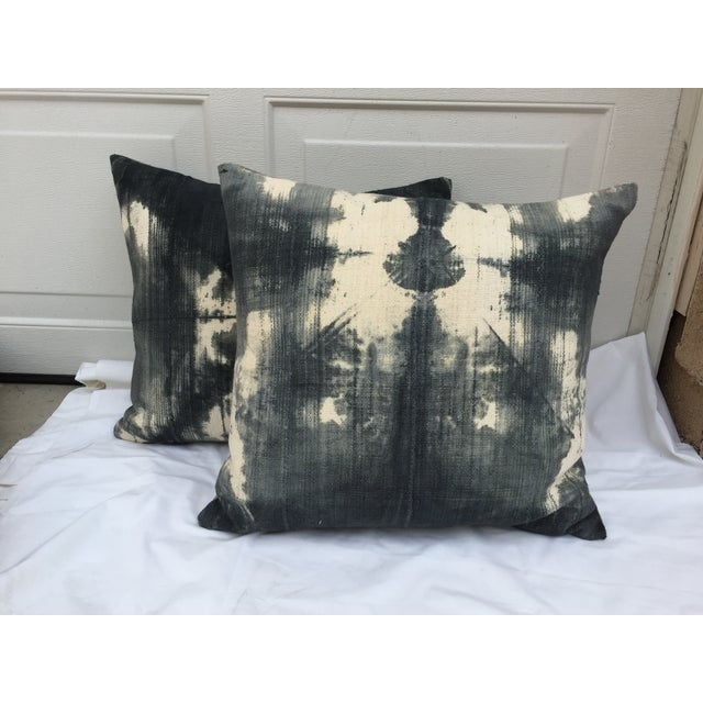 African Grey Tie Dye Mud Cloth Pillows - A Pair - Image 2 of 5