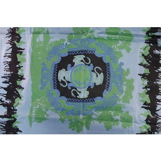 Vintage Green & Blue Pre-Catelan Horse Embroidered Fabric