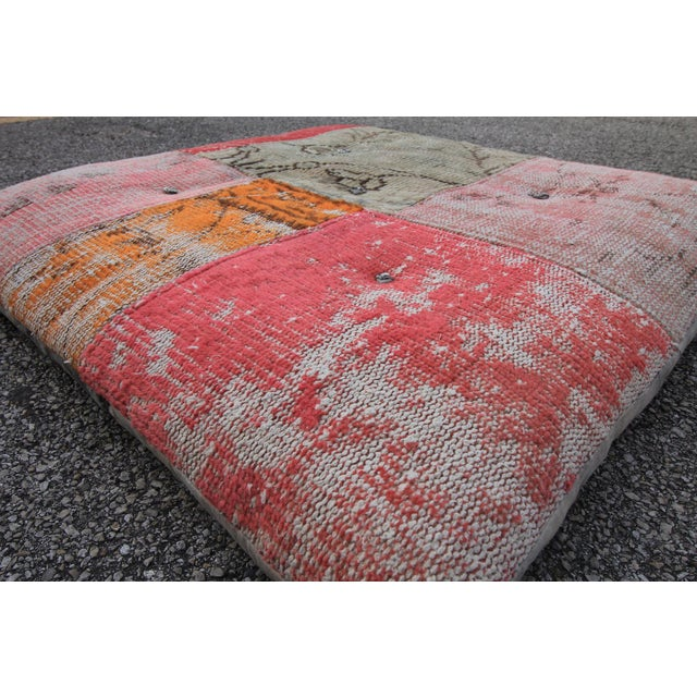 Vintage Turkish Patchwork Floor Pillow - Image 4 of 5