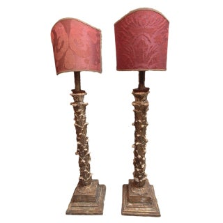 Italian Wood Carved Floor Lamps - A Pair