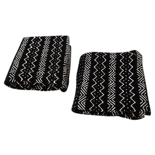 Vintage Malian Black & White Mud ClothTextiles - A Pair