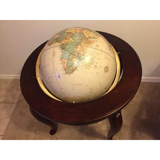 """George F. Cram Co. Floor Model Classic 16"""" World Globe with Wooden Stand - Image 3 of 5"""