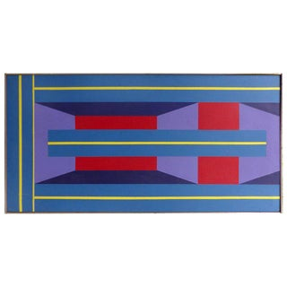 1970s Op Art Oil on Canvas Painting