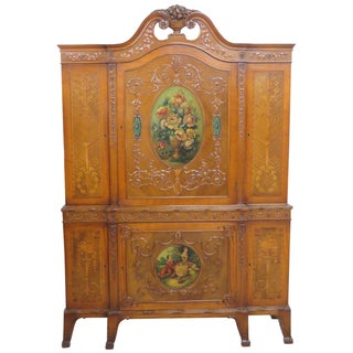 Irwin Paint Decorated Inlaid China Closet Armoire
