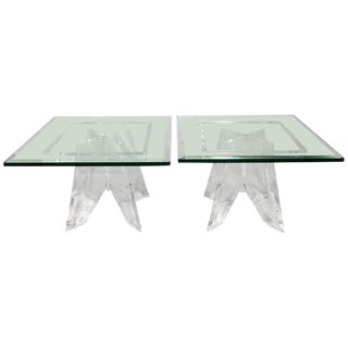 1970s Lucite Base Side Tables with Glass Tops - A Pair