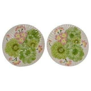 Majolica Flower Leaves Wall Plates - Pair