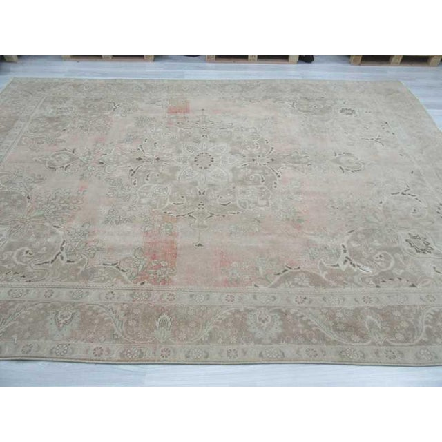 Persian Washed Out Tabriz Rug- 9′1″ × 12′6″ - Image 4 of 6