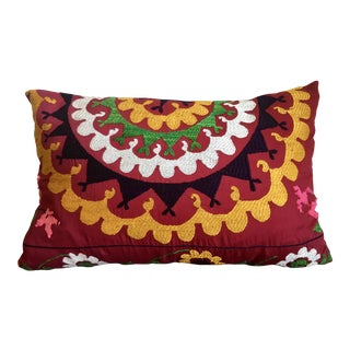 Boho Suzani Floral Red Pillow