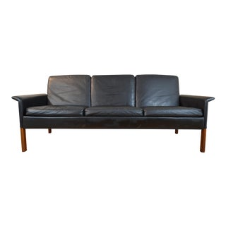 Hans Olsen for C/S Mobler Black Leather and Rosewood Three-Seat Sofa