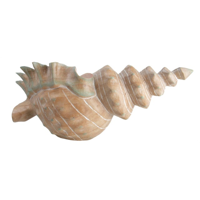 Handcrafted Wooden Seashell Sculpture - Image 5 of 8