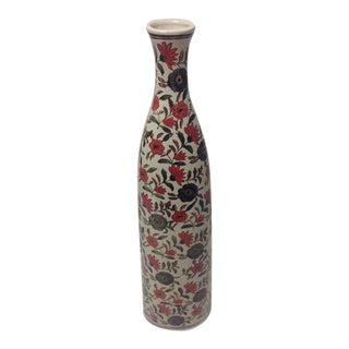 Tall Cylinder Floral Pattern Vase