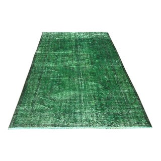 Vintage Hand Knotted Emerald Green Rug