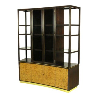 Edward Wormley Walnut & Olive Ash Burl Tall Cabinet For Dunbar