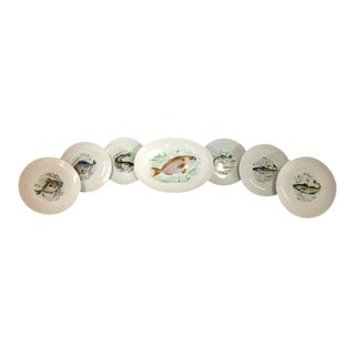 Mid-Century German Porcelain Hand-Painted Fish Serving - Set of 7
