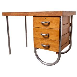 Bauhaus-Style Tubular Metal & Wood Desk