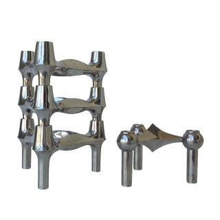 Nagel Chrome-Plated Modular Candleholders - S/4