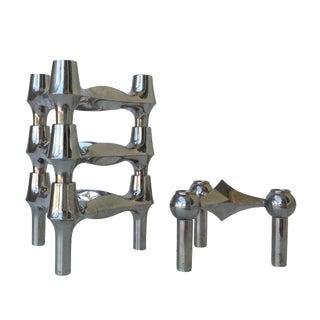 Nagel Chrome-Plated Modular Candleholders - S/4