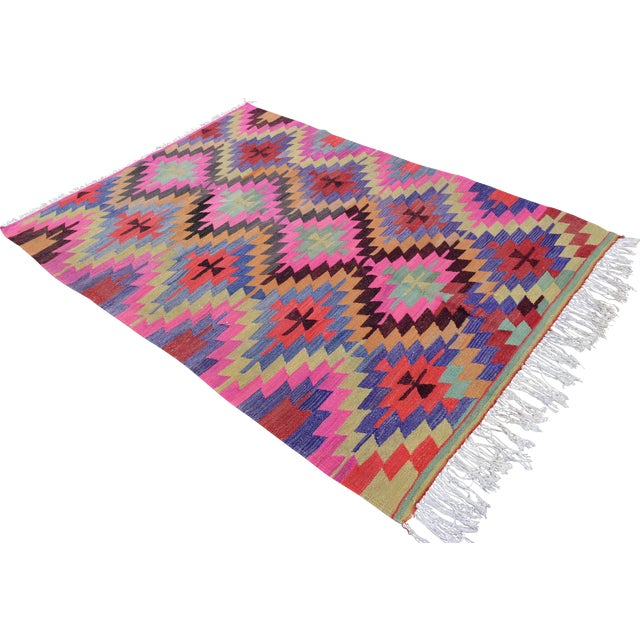 Hand-Woven Turkish Diamond Kilim Rug - 4′7″ × 6′4″ - Image 1 of 9