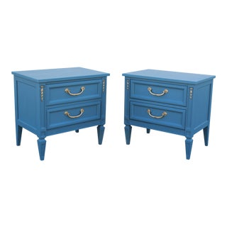 Pair of Mid Century Neoclassical Style Blue Nightstands - Mid Century Nightstands