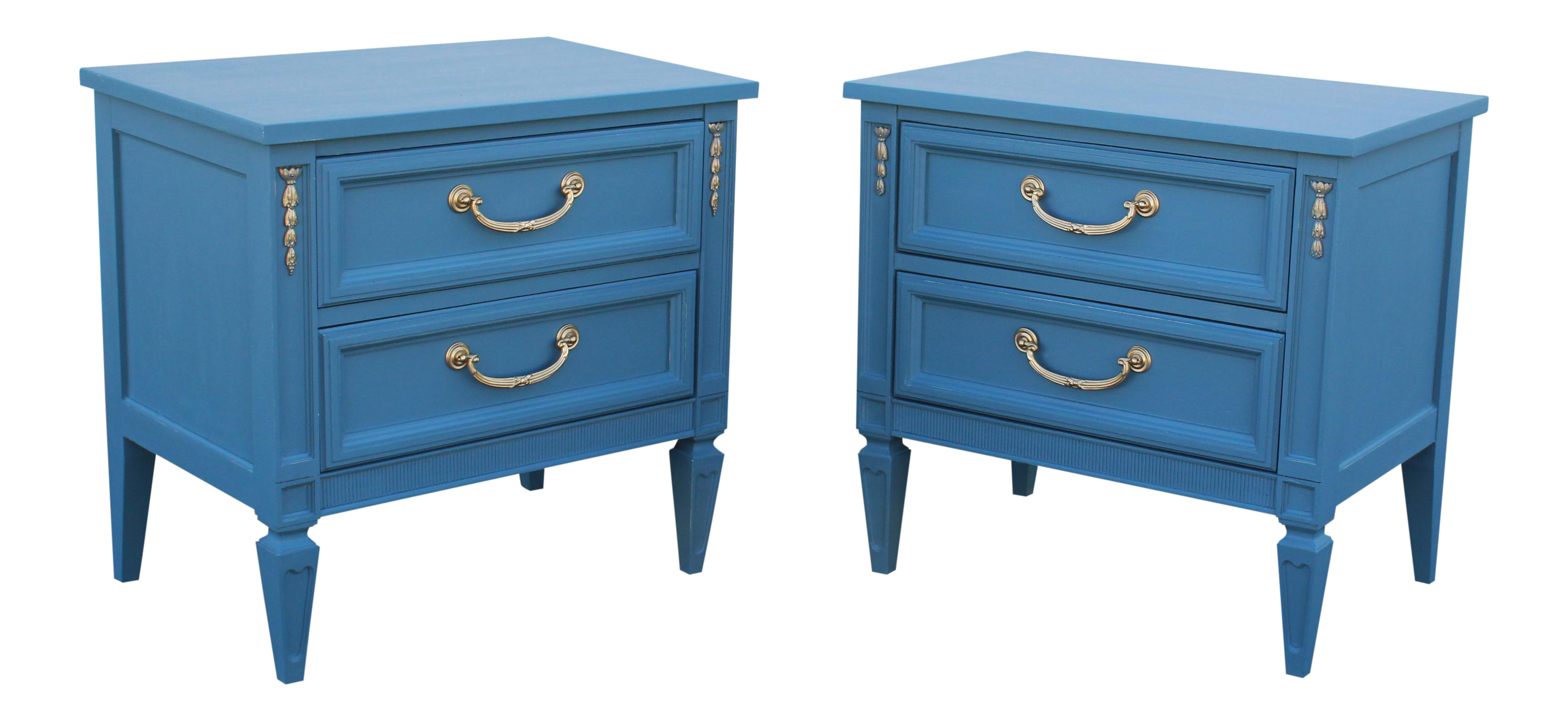 pair of mid century style blue nightstands mid century nightstands