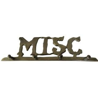 """Vintage Brass """"Misc."""" Hook Rack"""