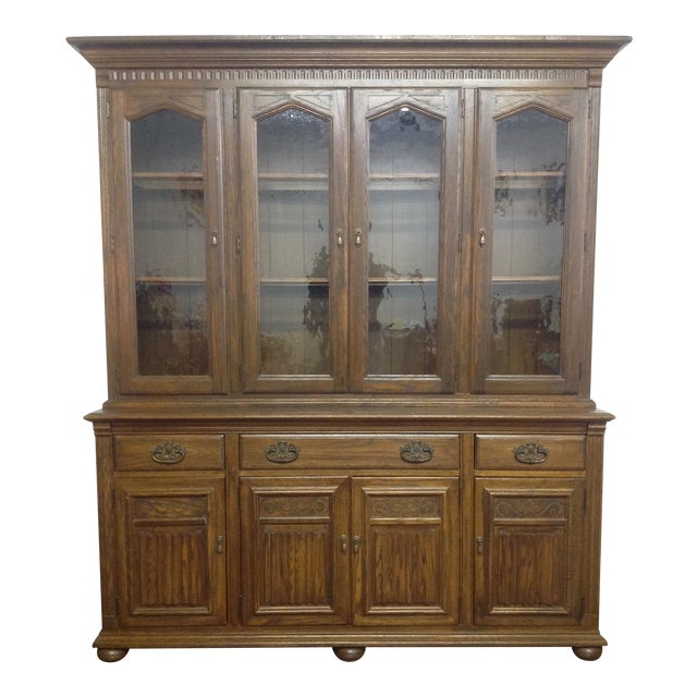Image of Ethan Allen Breakfront China Cabinet
