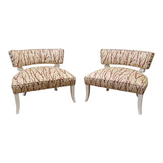 1950s Vintage Mid-Century Modern James Mont Upholstered Slipper Chairs - a Pair