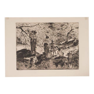 """Bathers"" by John E. Costigan, Original Limited Edition Signed Etching"