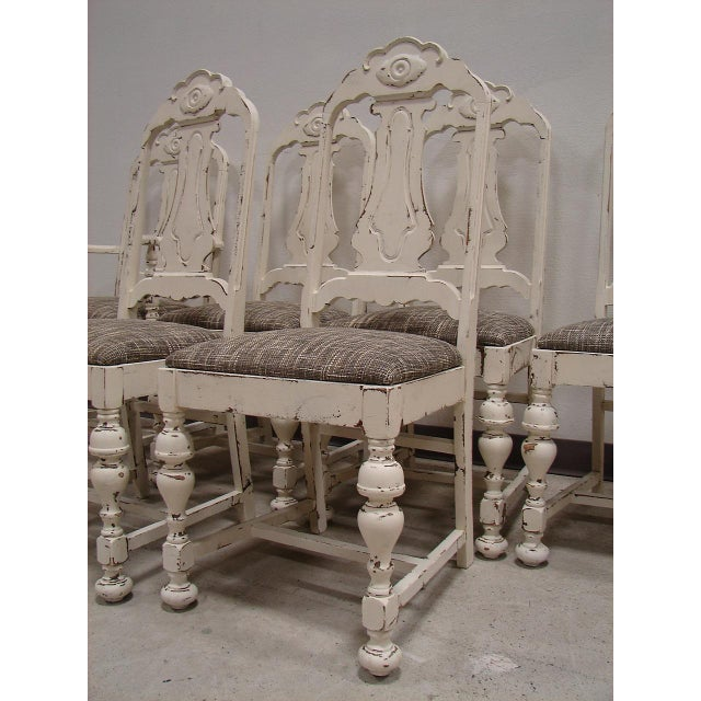 Shabby Chic White Distressed Dining Chairs - S/6 - Image 5 of 5
