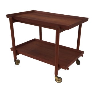 1960s Poul Hundevad Danish Teak Bar Cart