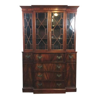 Vintage Carved Mahogany Chippendale Style China Cabinet