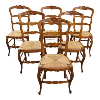 BEAUTIFUL SET OF SIX COUNTRY FRENCH RUSH SEAT CHAIRS CIRCA 1910S